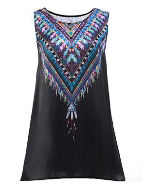 פוליאסטר מיני צווארון עגול דפוס שמלה סווינג נשים