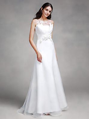 2017 Lanting Bride® Trumpet / Mermaid Wedding Dress Sweep / Brush Train Jewel Lace / Organza / Satin with Flower / Lace