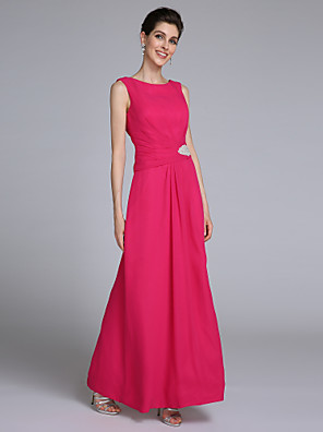 Lanting Bride Sheath / Column Mother of the Bride Dress Floor-length Sleeveless Chiffon with Crystal Detailing