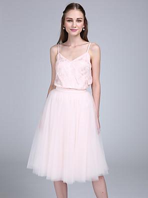 2017 Lanting bride® ke kolenům krajka / tyl družička šaty - a-linie špagetová ramínka s krajkou