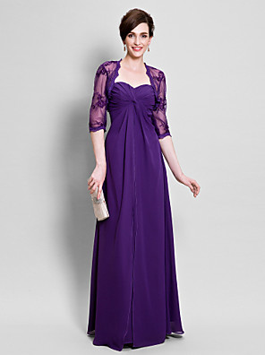 Sheath / Column Mother of the Bride Dress Floor-length Chiffon with Appliques / Beading / Side Draping
