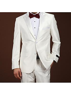 חליפות גזרה צרה פתוח Single Breasted Two-button צמר חלק שני חלקים לבן דש ישר ללא (חלק קדמי שטוח) לבן ללא (חלק קדמי שטוח) כפתורים / כיסים