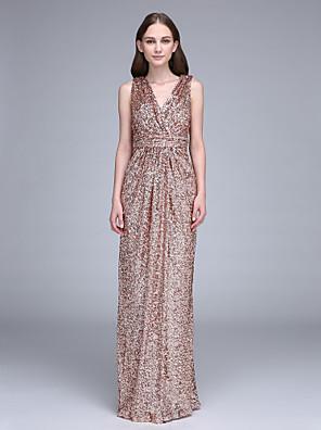 2017 Lanting andar de comprimento bride® vestido de dama de lantejoulas - v-pescoço com ruching / lantejoulas