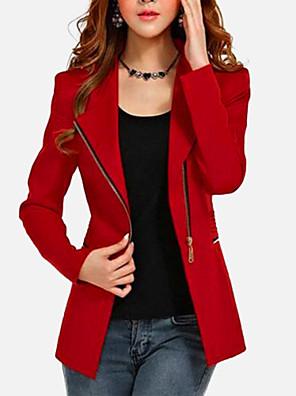 Nagy méretek / Alkalmi Vintage Őszi / Téli-Női Kabát,Egyszínű ¾-es ujjú / Hosszú ujj Piros / Fekete Pamut / Egyéb Vékony