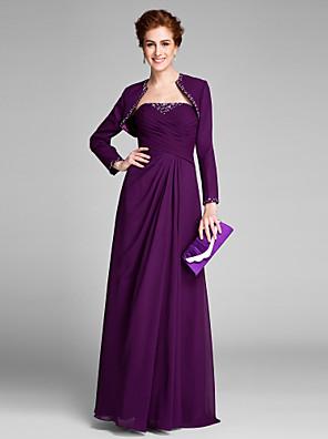 2017 לנטינג אמא נדן / טור bride® של שמלת כלה שיפון ללא שרוולים באורך הרצפה עם כורכת צד