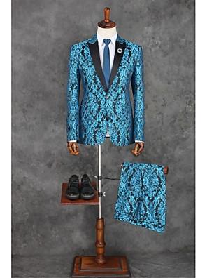 Suits Moderno Italiano Comum 1 Butão Poliéster Desenhos 2 Peças Azul Oceano Lapela Reta Sem Pregas (reta) Azul Sem Pregas (reta)Botões /