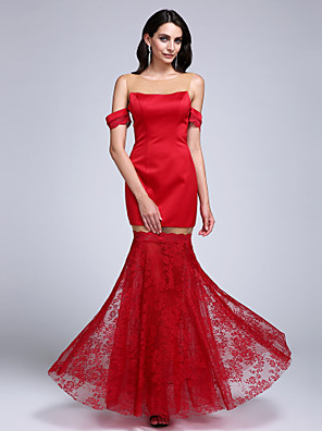 Formal Evening Dress Trumpet / Mermaid Jewel Floor-length Lace / Satin with Lace