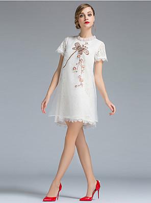 Dames Uitgaan Eenvoudig Ruimvallend Jurk Print-Ronde hals Mini Korte mouw Wit Polyester Zomer Medium taille