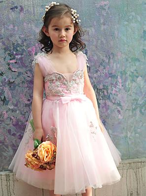 Plesové šaty Ke kolenům Šaty pro květinovou družičku - Tyl / Charmeuse Bez rukávů Čtvercový s Korálky / Mašle