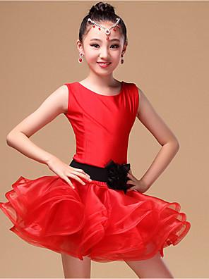 ריקוד לטיני שמלות בגדי ריקוד ילדים ביצועים ניילון / אורגנזה אבנט / סרט 3 חלקים בלי שרוולים טבעי שורטים / שמלות / חגורהSuitable Height