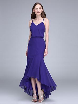 Lanting Bride® Assimétrico Chiffon Vestido de Madrinha - Sereia Com Alças Finas com