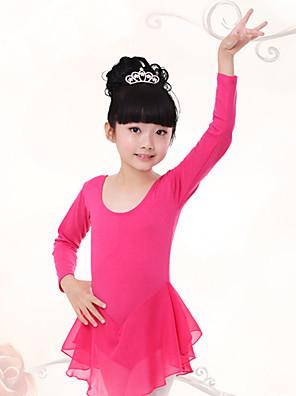 בלט שמלות בגדי ריקוד ילדים אימון שיפון / כותנה Ruched חלק 1 שרוול ארוך טבעי שמלות100:49cm, 110:51cm, 120:53cm, 130:55cm, 140:58cm,