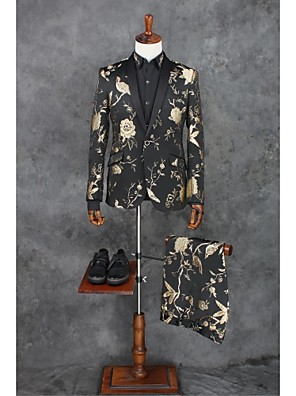 2017 obleky na míru fit šátek límec single prsy jedním tlačítkem polyester vzory 2ks šikmým třepotal