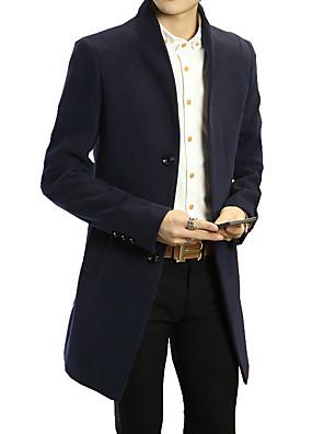 Fritid Ensfarvet Mænds Langærmet Frakke Bomuld-Sort / Blå / Rød / Grå