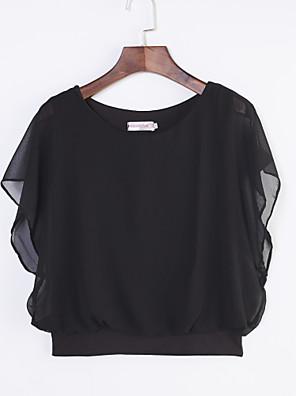 De las mujeres Tallas Grandes Verano Camiseta,Escote Redondo Un Color Manga Corta Poliéster Azul / Rojo / Blanco / Negro / Morado Fino