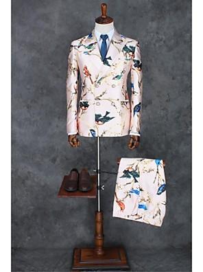 2017 obleky slim fit zářez dvojité breasted dvě tlačítka polyester vzory 2 ks růžová rovně odvedený