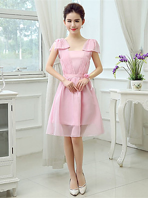 Knee-length Chiffon / Polyester Bridesmaid Dress A-line Square with Side Draping