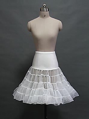 תחתונית  סליפ שמלת נשף באורך ברך 5 רשתות בד טול / אקרילי לבן