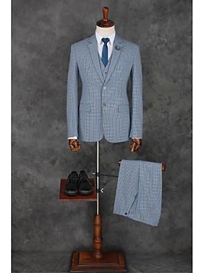 Suits Padrão Notch/ Paletó Comum 2 Butões Poliéster Xadrez Gingham 3 Peças Azul Claro Lapela Reta Sem Pregas (reta) Azul ClaroSem Pregas