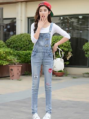 Katoen-Micro-elastisch-Medium-Vrouwen-Eenvoudig-Jumpsuits-Mouwloos
