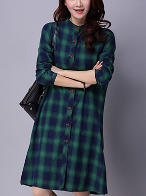 Women's Casual Street chic Fall Dress and Shirt,Plaid Shirt Collar Long Sleeve Blue / Red / Green Cotton / Linen Medium
