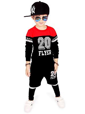 Boy's Cotton Spring/Autumn Fashion Cartoon Print Sport Suit Long Sleeve Shirt And Harem Pants Tracksuit Two-piece Set
