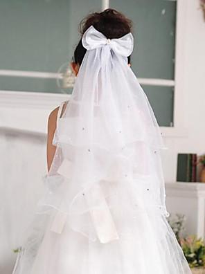 הינומות חתונה שכבה אחת הינומות לילדות קצה עפרון טול לבן
