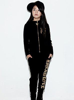 Girl's Cotton Spring/Autumn Print Hip-hop Costume Long Sleeve Hoodie Coat And Hallen Pants Sport Suit Two-piece Set