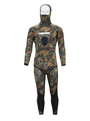 Esportivo Homens Macacão de Mergulho Longo Fato de Mergulho Design Anatômico 3-3,4 mm Verde Militar XS / S / M / L / XL / XXL Mergulho