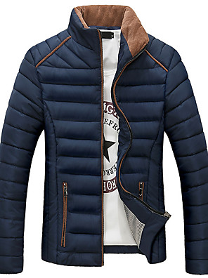 Men's Regular Padded Coat Casual/Daily / Plus Size Solid-Polyester Cotton Long Sleeve