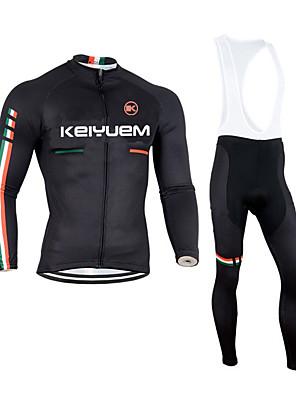 KEIYUEM® חולצת ג'רסי וטייץ ביב לרכיבה יוניסקס שרוול ארוך אופניים נושם / שמור על חום הגוף / ייבוש מהיר / לביש / 3D לוח / נוח / דחיסהמדים