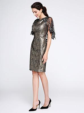 2017 ts couture® Cocktailpartykleid - Wrap enthalten Mantel / Spalte bateau knielangen Polyester mit appliques / print