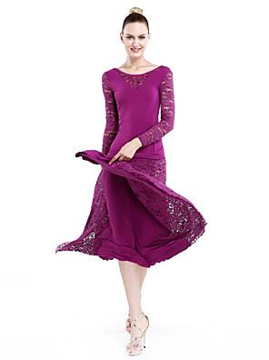 ריקודים סלוניים שמלות בגדי ריקוד נשים ביצועים / אימון תחרה / ויסקוזה תחרה חלק 1 שרוול ארוך טבעי שמלותM: 129cm L: 130cm XL: 131cm XXL: