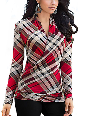 Casual/hétköznapi Egyszerű V-alakú-Női Póló,Nyomtatott Őszi Hosszú ujj Piros Poliészter Közepes vastagságú