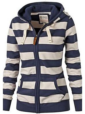Feminino Curto Hoodies,Casual / Esportivo Moda de Rua Listrado Azul Com Capuz Manga Longa Algodão Outono / Inverno Média Micro-Elástica
