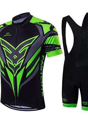 ספורטיבי חולצת ג'רסי ומכנס קצר ביב לרכיבה לגברים / יוניסקס שרוול קצר אופניים נושם / ייבוש מהיר / רוכסן קדמי / לביש / דחיסהחולצה+שורטס