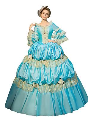Uma-Peça/Vestidos Gótica Steampunk® / Vitoriano Cosplay Vestidos Lolita Azul Céu Cor Única 3/4 de Manga Comprimento Longo Vestido Para