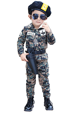 Girl's Cotton Spring/Autumn Camouflage Male Child Long-sleeve Set Two-Piece Set