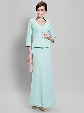 Lanting Bride® Plesové šaty Šaty pro matku nevěsty Na zem Šifón - Korálky / Krajka