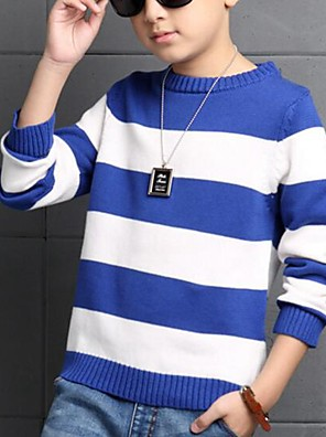 Boy's Casual/Daily Striped Sweater & Cardigan,Cotton Spring / Fall Blue / Red