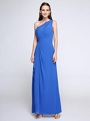 2017 Lanting vestido bride® tornozelo de comprimento chiffon dama de honra - bainha elegante / coluna de um ombro com drapeados lado