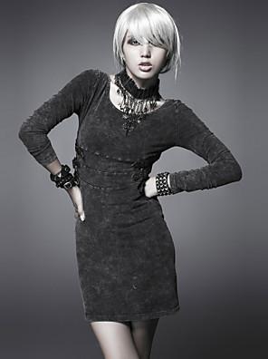 PUNK RAVE  Q-211 Women's Vintage/Sexy/Print Micro-elastic Long Sleeve Above Knee Dress (Spandex)