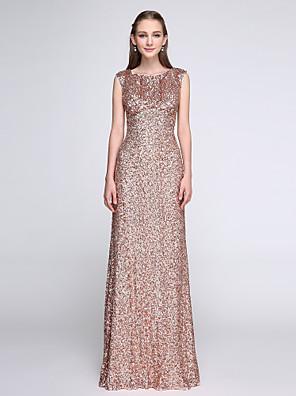 2017 Lanting vestido longo bride® lantejoulas dama de honra - brilho& brilho bainha / coluna colher com lantejoulas