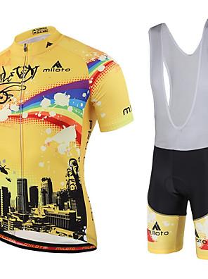 Miloto® חולצת ג'רסי ומכנס קצר ביב לרכיבה לנשים / לגברים / לילדים / יוניסקס שרוול קצר אופנייםנושם / ייבוש מהיר / חדירות ללחות / רוכסן YKK