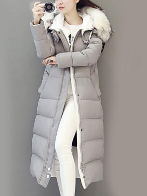 ארוך מרופד מעילאחיד סגנון רחוב ניילון נוצות אווז לבן-שרוול ארוך עם קפוצ'ון שחור / אפור