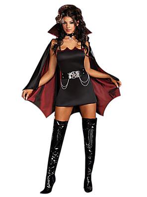 תחפושות קוספליי / תחפושת למסיבה מלאך ושטן / זומבי / ערפדים פסטיבל/חג תחפושות ליל כל הקדושים שחור / אדום יין וינטאג' שמלה / צעיף / חגורה
