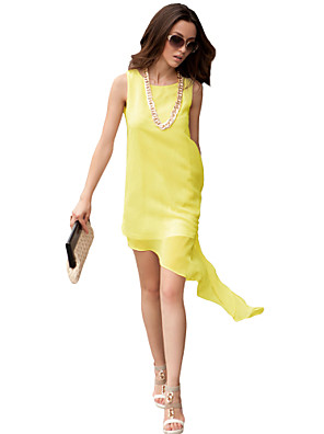 JoanneKitten@ Women's Vintage/Sexy/Beach/Cute/Party/Work/Plus Sizes Asymmetrical Chiffon Midi Dress