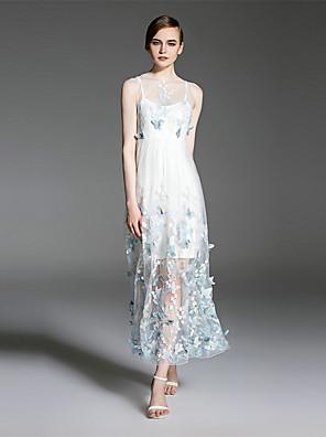 es.dannuo női kiment szexi swing ruha, hímzett kerek nyakú midi ujjatlan kék / fehér poliészter nyár