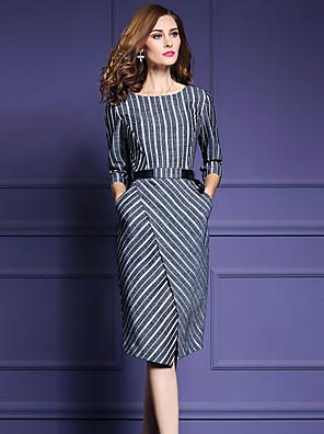 סתיו חוטי זהורית / פוליאסטר לבן / שחור אורך שרוול ¾ עד הברך צווארון עגול פסים פשוטה יום יומי\קז'ואל / מידות גדולות שמלה נדן נשים,גיזרה