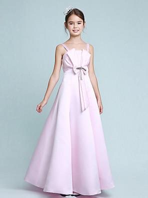 Lanting Bride® Na zem Elastický satén Šaty pro malou družičku A-Linie / Princess Špagetová ramínka Empír s Korálky / Mašle